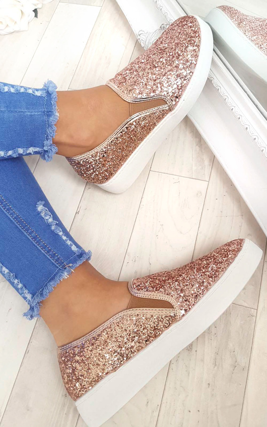 3dc7a4c116bb4 Alex Slip On Chunky Glitter Trainers in Rose gold