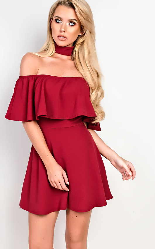 5c4db1534b Taliyah Choker Neck Skater Dress in Wine