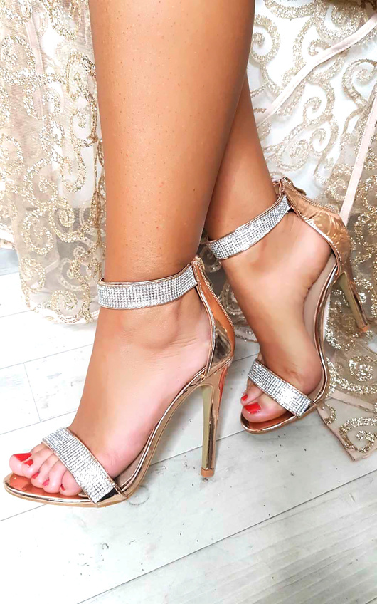 f86b6dddbb3 Jessica Diamante Strap Barely There Heels in Rose gold