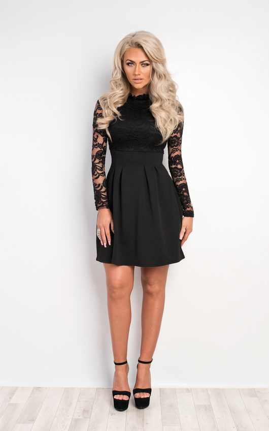 058f3d7d8816 Nika Lace Skater Dress in Black | ikrush