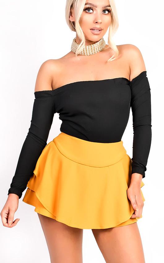 87a3ff18fa6 Lexia Ribbed Frill Off Shoulder Stretch Bodysuit in Black   ikrush
