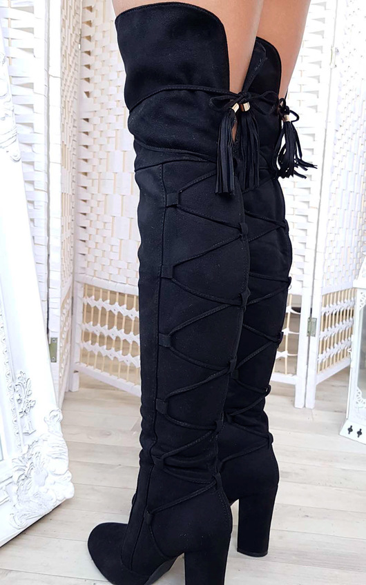 f522564f2a6 Lizzy Faux Suede Lace Up Knee High Boots in Black