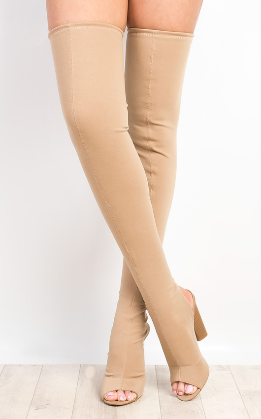 86cfa59e5c33 Kylie Peep Toe Knee High Boots in Nude | ikrush