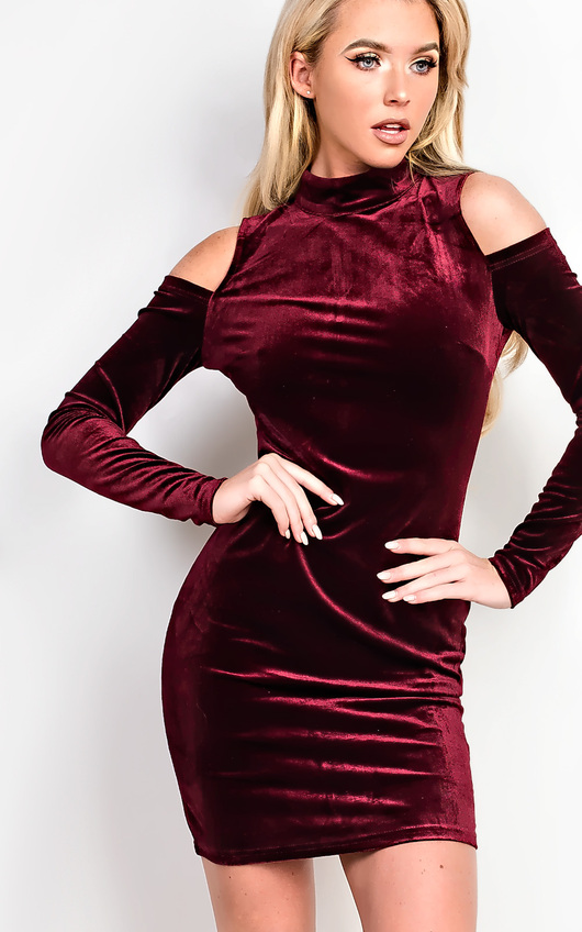 243bdc6755 Elouise Velour Cold Shoulder Bodycon Dress. HOVER ITEM TO ZOOM