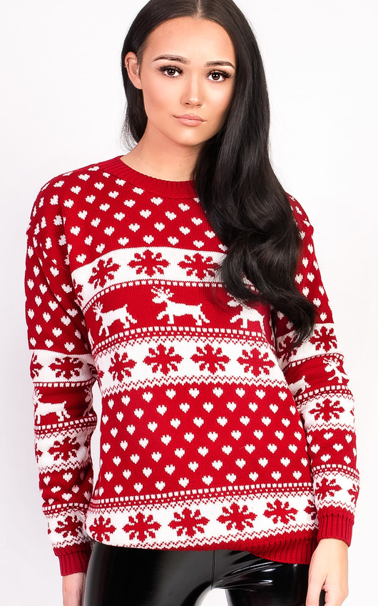 a6a3ba59f955d3 Dash Oversized Christmas Jumper in Red | ikrush