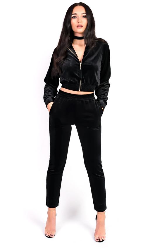 Paris Velour Tracksuit in Black | ikrush
