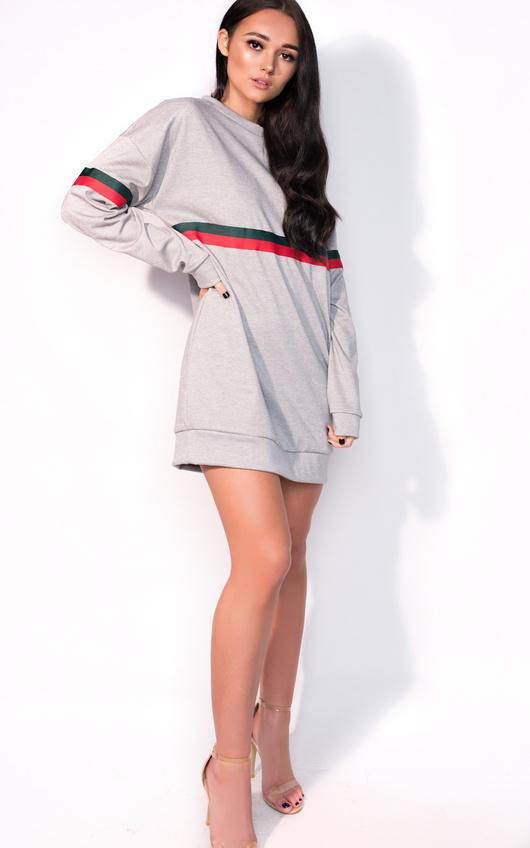 88507a6d4c0de Meghan Striped Sleeve Oversized Jumper Dress in Grey | ikrush