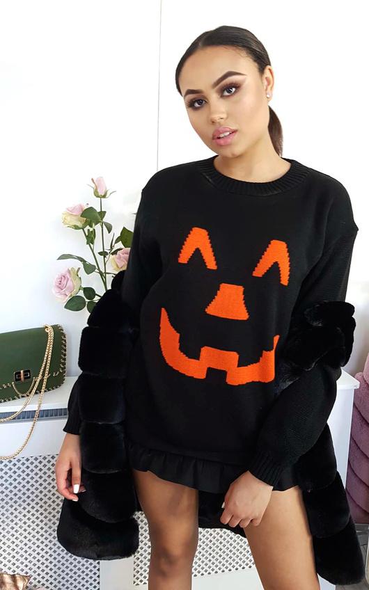 d6f954fe028 Pumpkin Knitted Halloween Jumper in Black