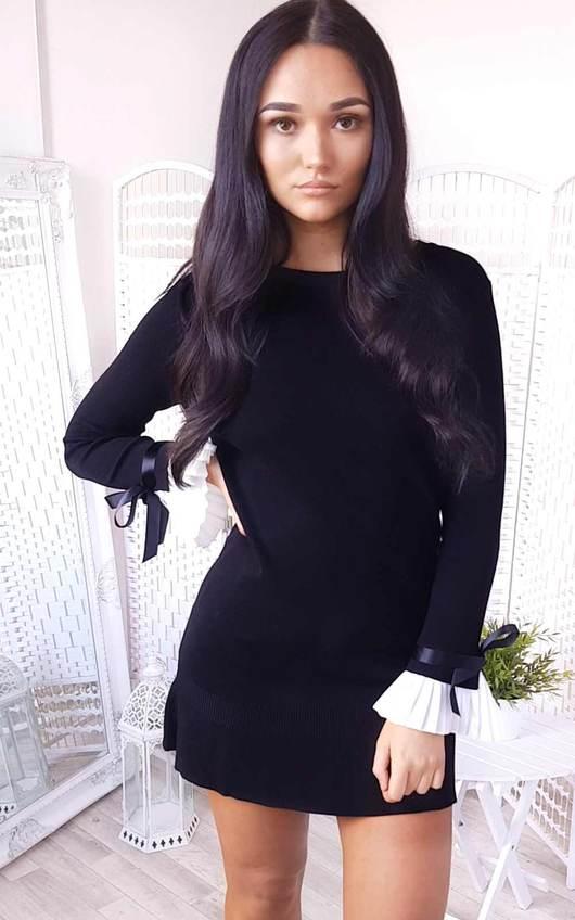 77a2aec9506 Cecelia Pleated Sleeves Longline Jumper Dress in Black