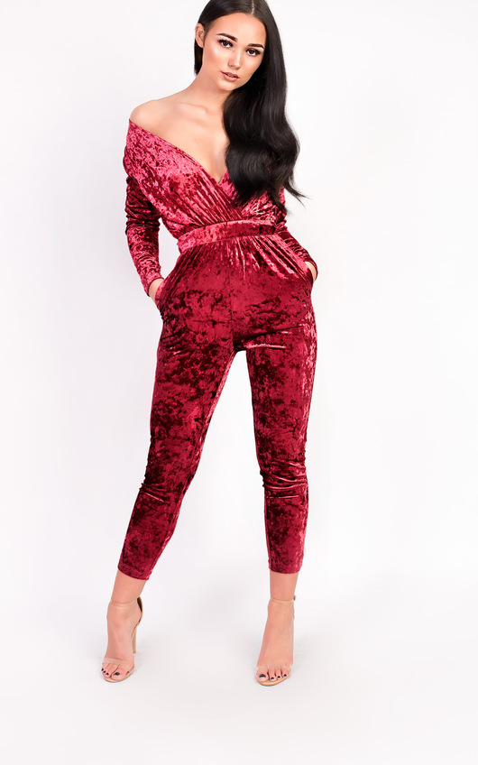 f22366ba4c3b Kye Velvet Plunge Fitted Jumpsuit. HOVER ITEM TO ZOOM