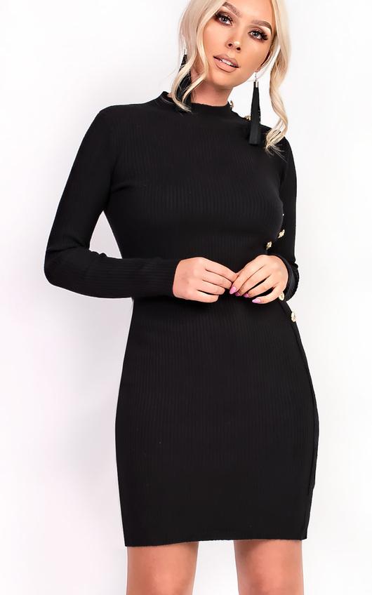 71d2a78d981 Priscilla High Neck Button Longline Jumper Dress. HOVER ITEM TO ZOOM