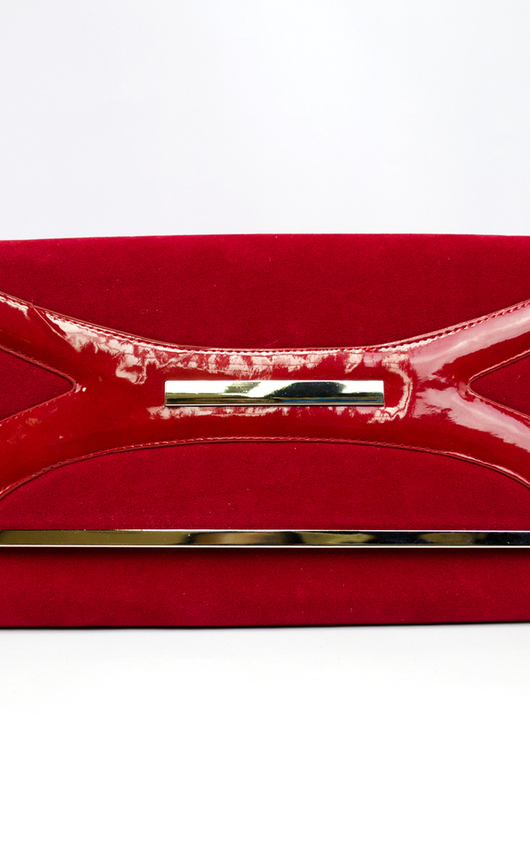 56fc7bdb92bfe Suede Clutch Bag With X Design in Red