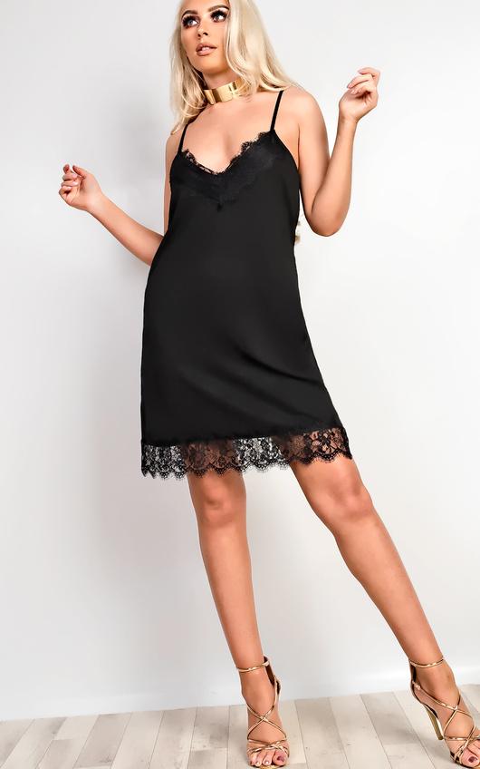 Tiffany Lace Cami Mini Dress In Black Ikrush