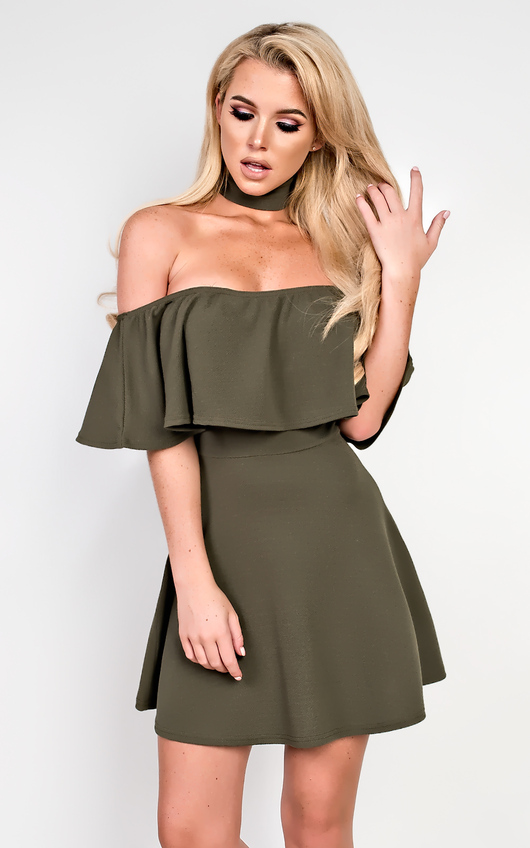 a339517921 Taliyah Choker Neck Skater Dress in Khaki