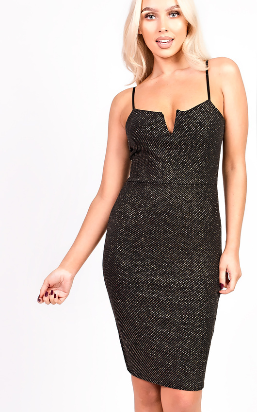 Cindy Sequin Cami Dress In Black Ikrush