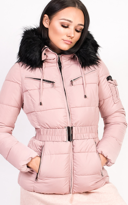 0fb682be03d7e Hadid Padded Faux Fur Hooded Jacket in Pink