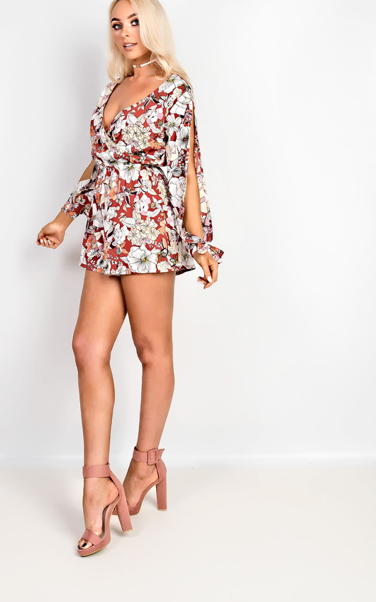 58e99578242 Harriett Floral Cut Out Playsuit in Floral