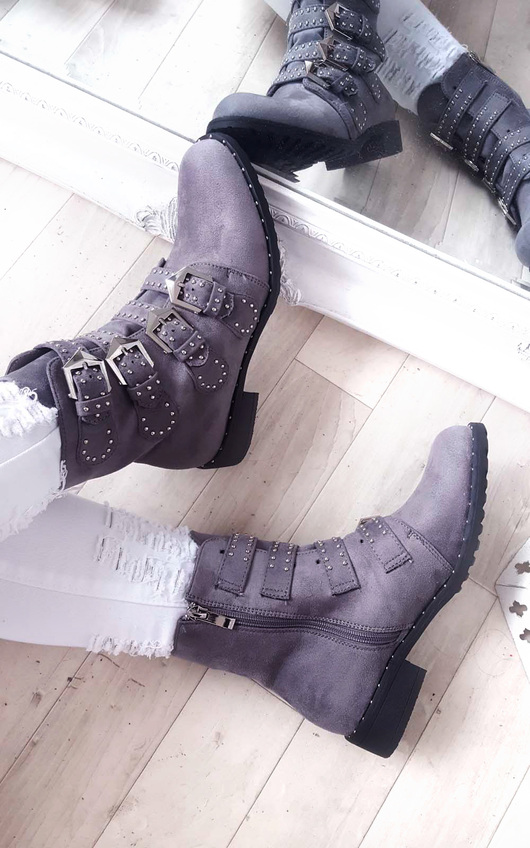 b7d47b820b7 Alexis Studded Buckle Faux Suede Ankle Boots in Grey