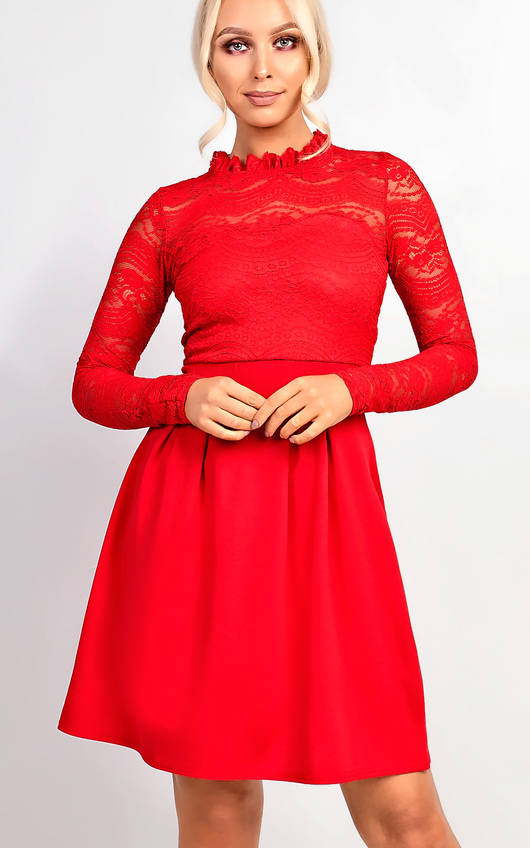 d52c9ded096b Anyelle Lace Skater Dress in Red