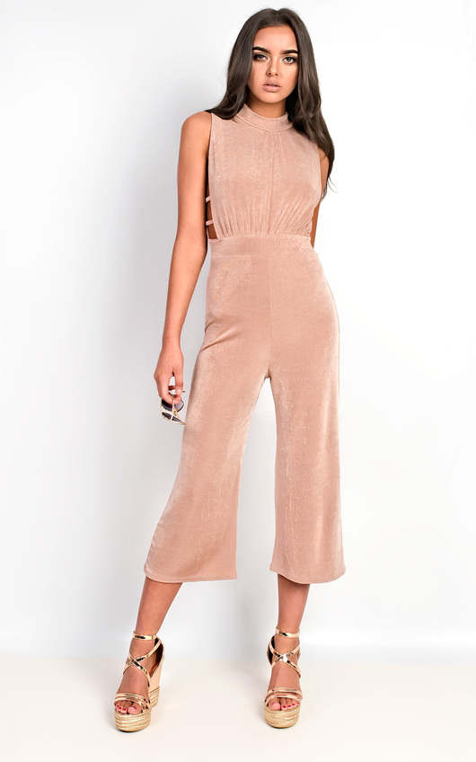 bc778892a36 Verity Slinky Culotte High Neck Jumpsuit in Rose