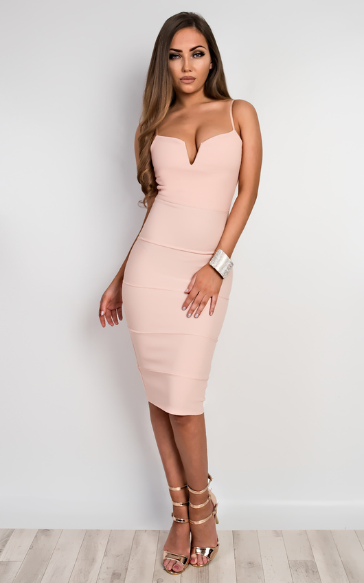 Brynna Bandage Bodycon Dress In Nude Ikrush