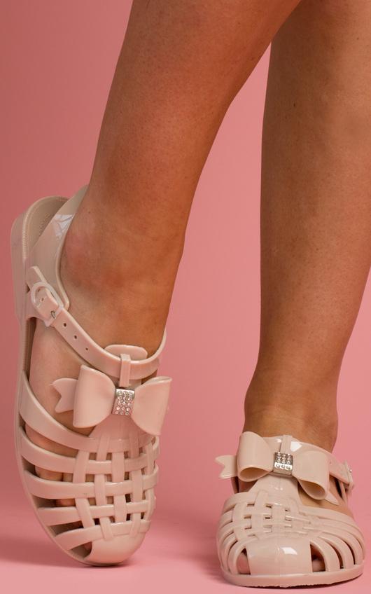 d5d44e3b6d09ec Larkin Bow Detail Jelly Shoes in Nude