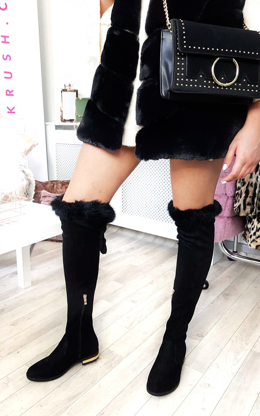 Lena Faux Suede Fluffy Bow Knee High Boots