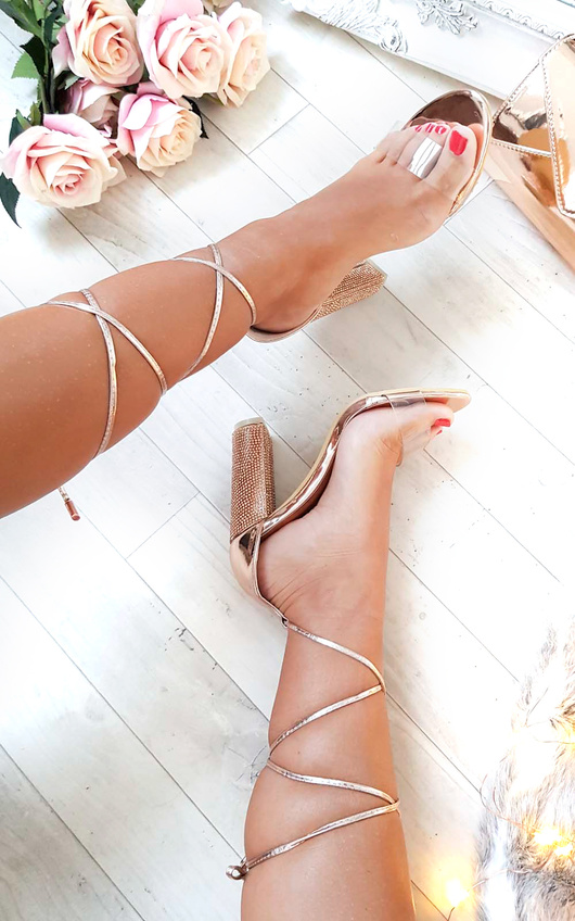 9c0dddb149bcd Hope Clear Strap Tie Up Diamante Heels in Rose gold | ikrush