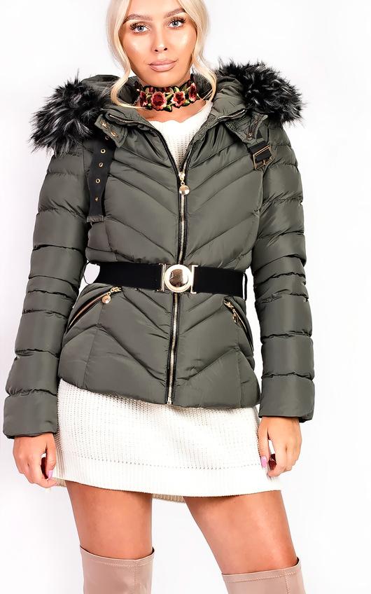 b773fff72ca1 Elisia Padded Faux Fur Hooded Belted Jacket in Khaki   ikrush