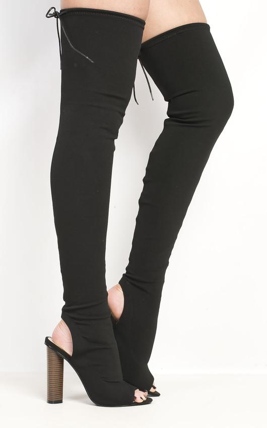 Katarina Peep Toe Knee High Boots in Black  7c9d55c9cd40