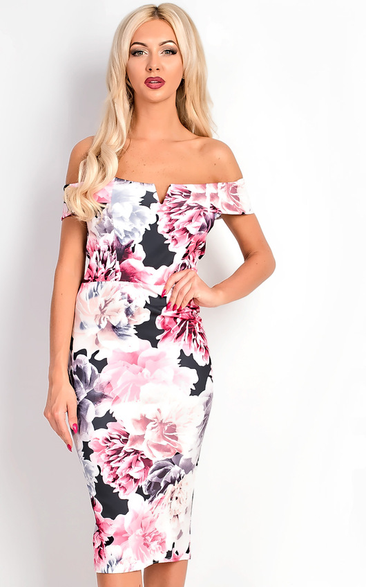 258dfe59fd Taliana Bardot Floral Midi Dress. HOVER ITEM TO ZOOM