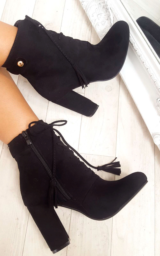 28c66f6786 Kiki Faux Suede Lace Up Tassel Ankle Boots in Black | ikrush