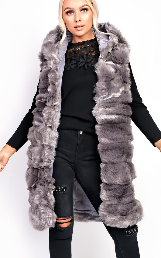 d835332018af Karla Faux Fur Hooded Waistcoat Thumbnail