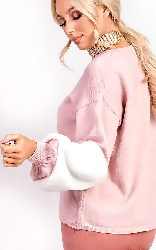 ba0b71c2b1e Sophie Velour Faux Fur Knit Sleeve Jumper in Rose