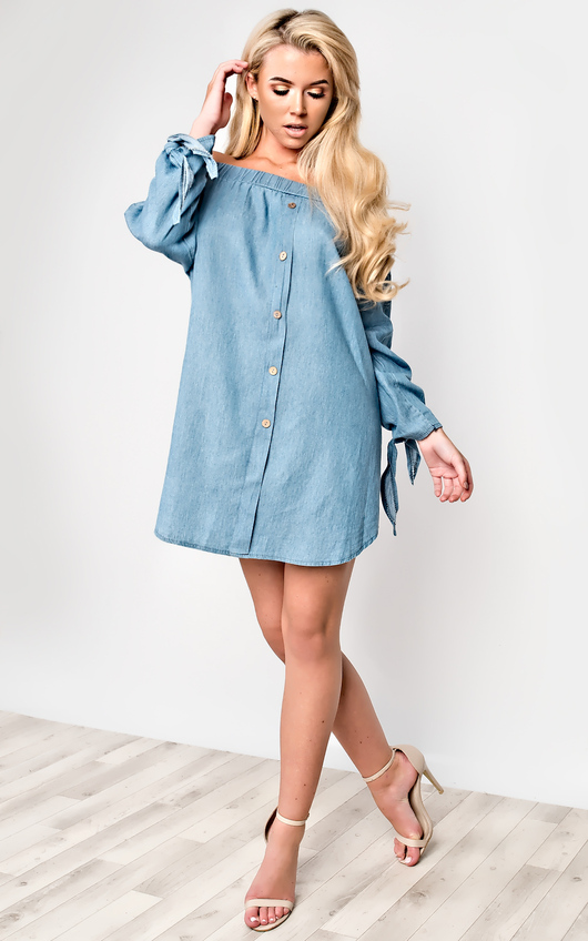 31e8834b Zara Denim Shift Dress in Light wash | ikrush