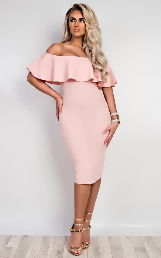 34f02a3cba Sadie Bardot Bodycon Dress in Pink