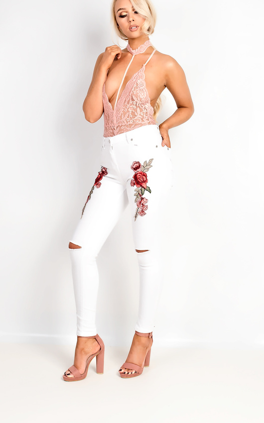 Liza Embroidered Ripped Skinny Jeans