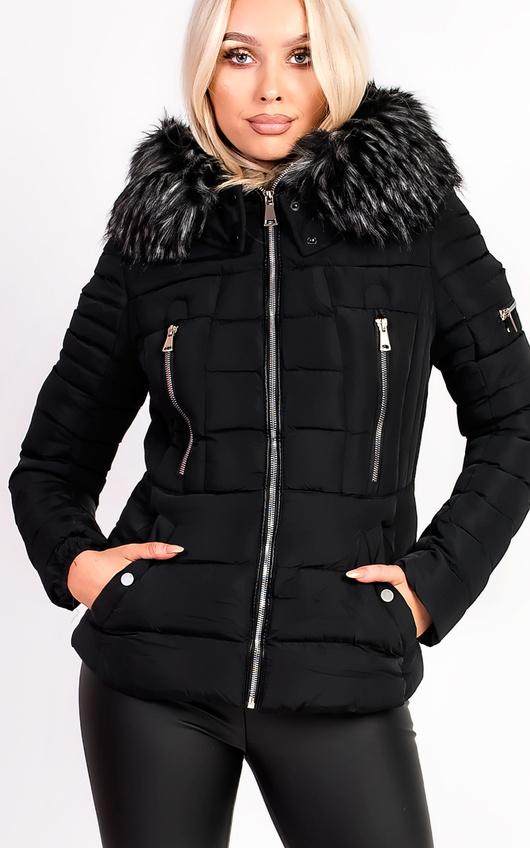 6bb7af840 Carolina Padded Faux Fur Hooded Jacket in Black