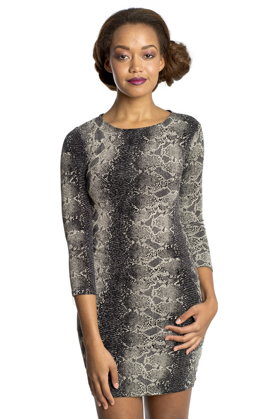 b646a49d400 Mandee Snake Print Bodycon Dress in Black | ikrush