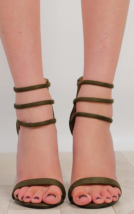 IKRUSH Women's Darci Strappy High Heels Size in Khaki Size 3 fbWEFmR