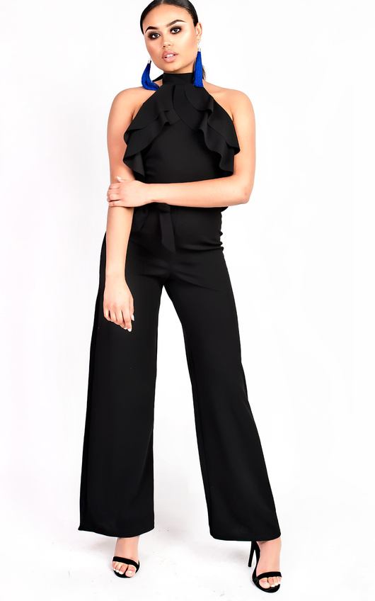 Courts Flared Wide Leg Halterneck Jumpsuit