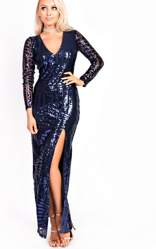 0f5a29e25187 HOVER ITEM TO ZOOM. Olivia Sequin Plunge Evening Maxi Dress Thumbnail