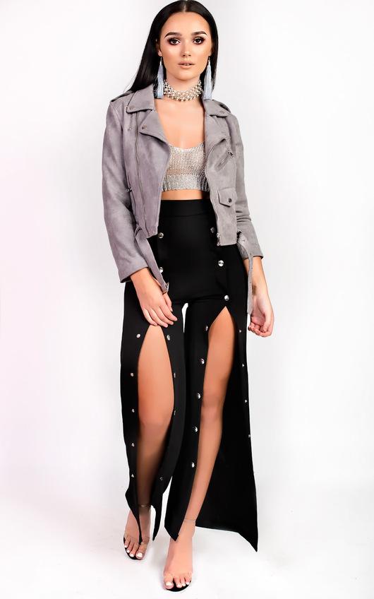 4c091d33cfebde Leena Popper Slim Leg Trousers in Black   ikrush