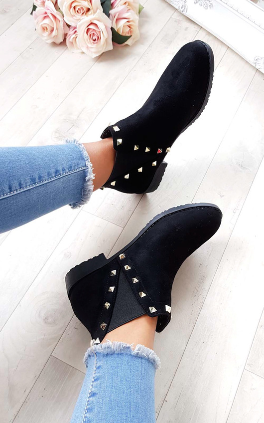 Keir Studded Chelsea Faux Suede Ankle Boots
