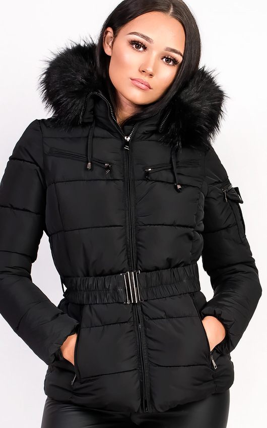 b08fd3d25 Hadid Padded Faux Fur Hooded Jacket in Black