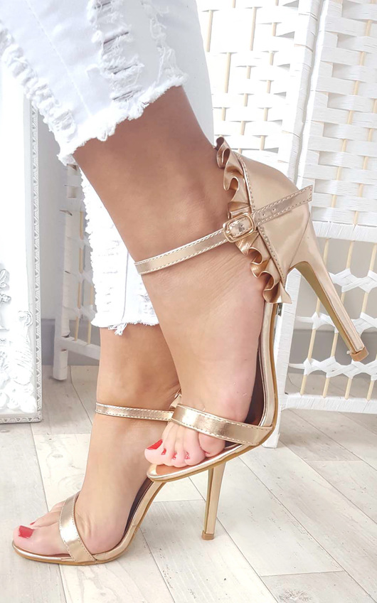 7862a250d092 Nazzi Faux Suede Frill Barely There Heels in Rose gold