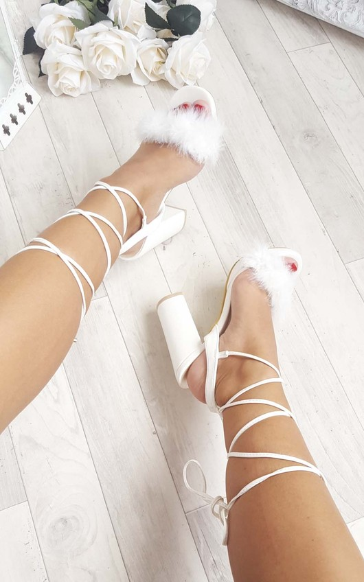 feffb2ea9 Loucia Fluffy Lace Up High Heels in White | ikrush