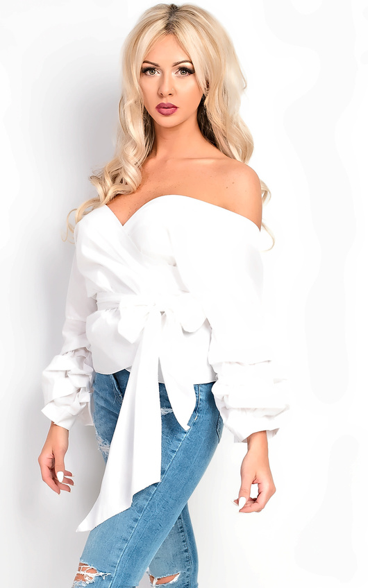 1501a2ab3b801 Reese Ruffle Sleeve Wrap Tie Front Shirt in White