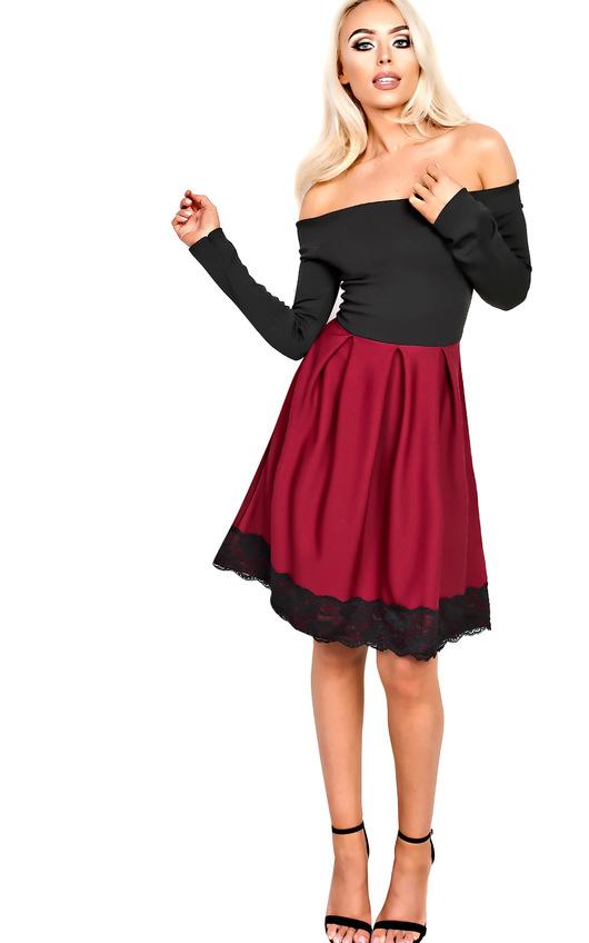 Caitlin Off Shoulder Skater Dress in Wine | ikrush