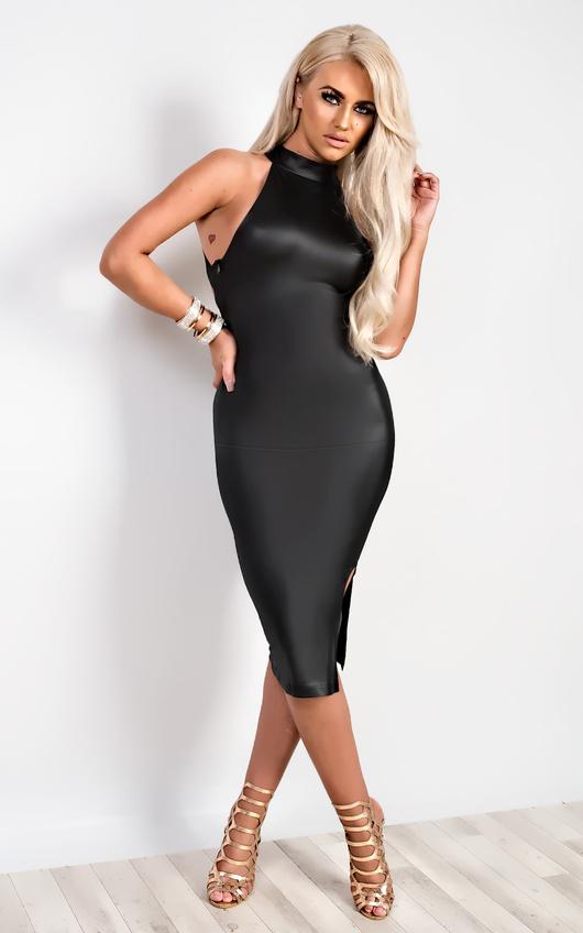 6ebca2b499c Claudia Faux Leather Bodycon Dress in Black